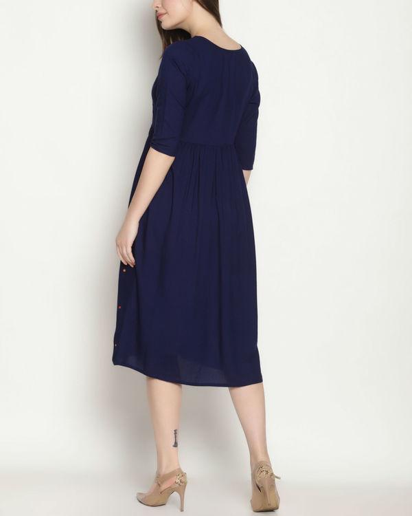 Blue embroidered polka dress 2