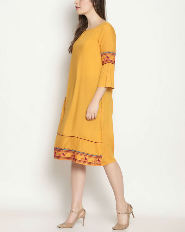 Yellow embroidered dress 1