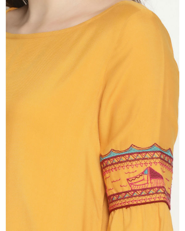Yellow embroidered dress 3