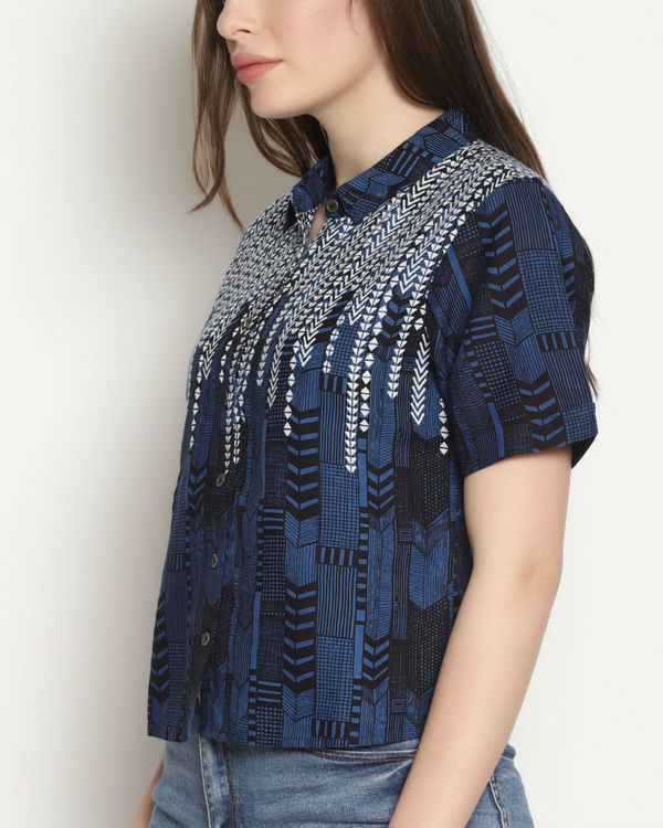 Blue block print top 3