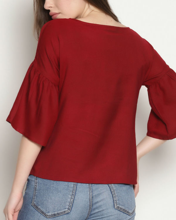 Maroon embroidered tassel top 2