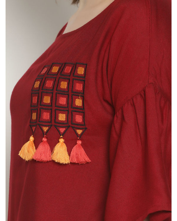 Maroon embroidered tassel top 1