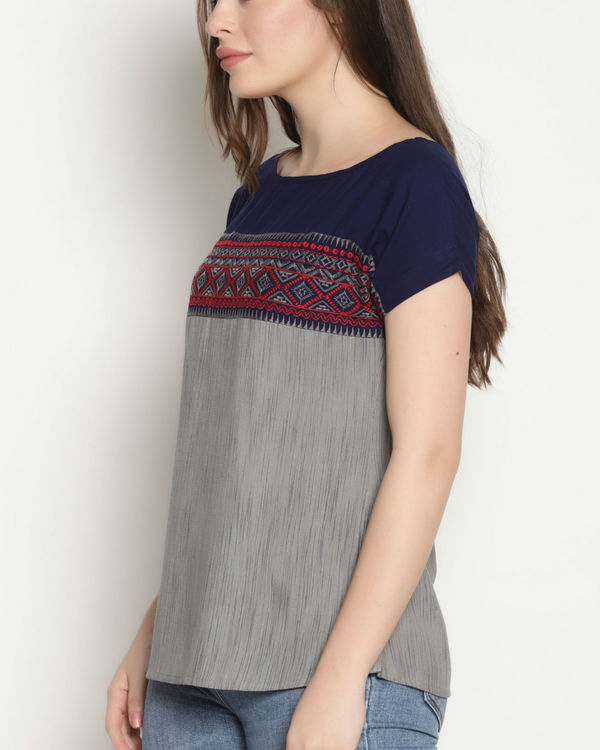 Grey and blue embroidered top 3