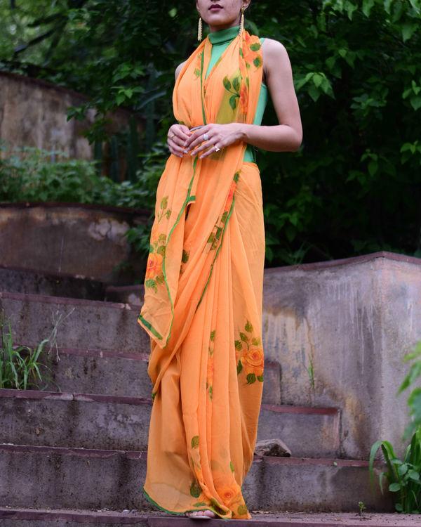 Tangy orange chiffon sari 1