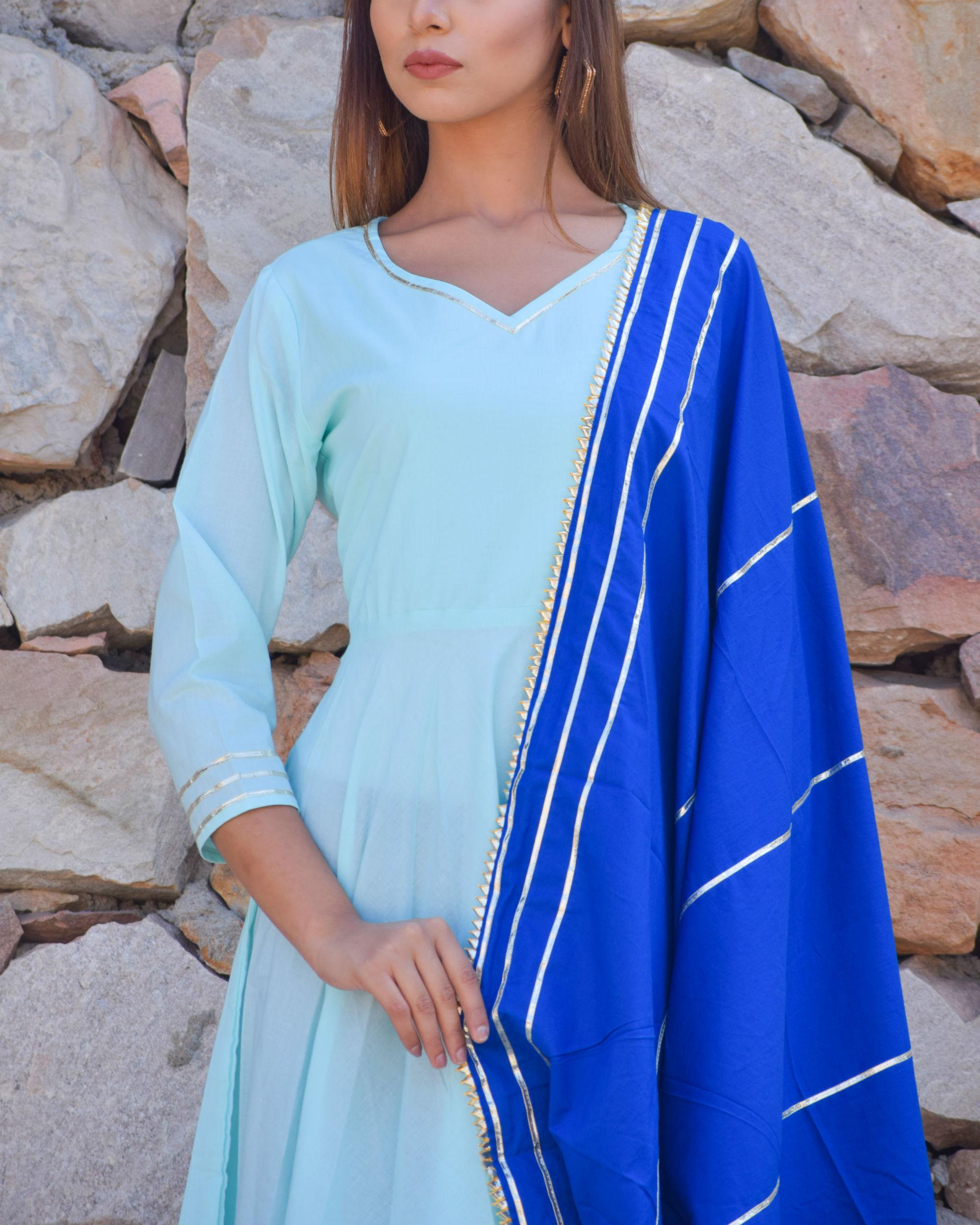 Sky blue gota dress with blue dupatta by Chokhi Bandhani