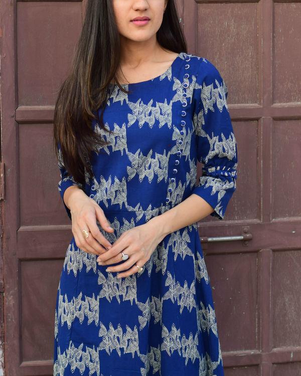 Blue checkered border dress 1