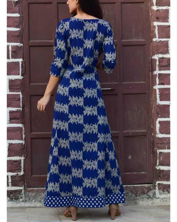 Blue checkered border dress 2