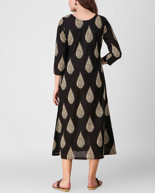 Black kalamkari print dress 2