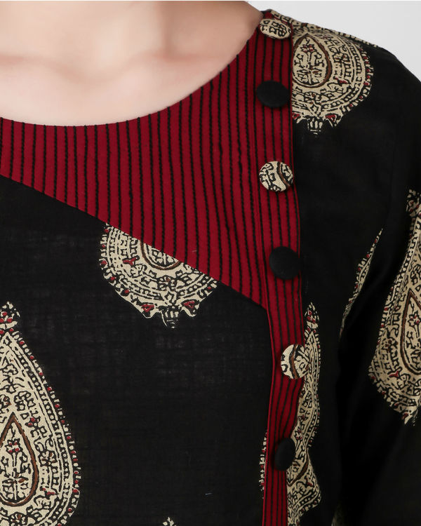 Black kalamkari print dress 1
