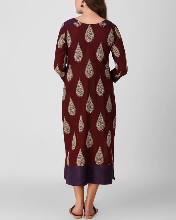 Reddish brown kalamkari dress 3