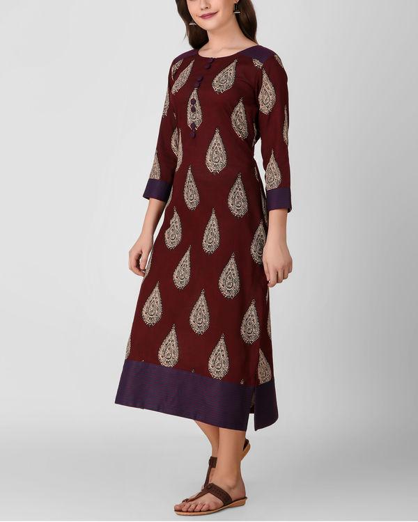 Reddish brown kalamkari dress 1