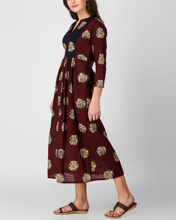 Blue yoke kalamkari dress 3