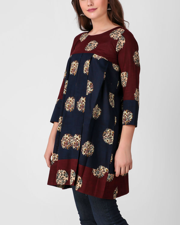 Blue pleated kalamkari tunic 2