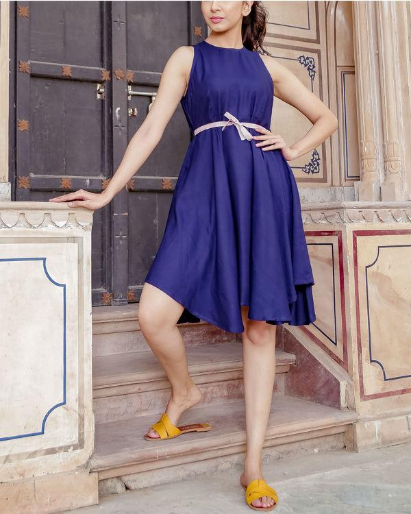 Blue uneven hemline dress 1