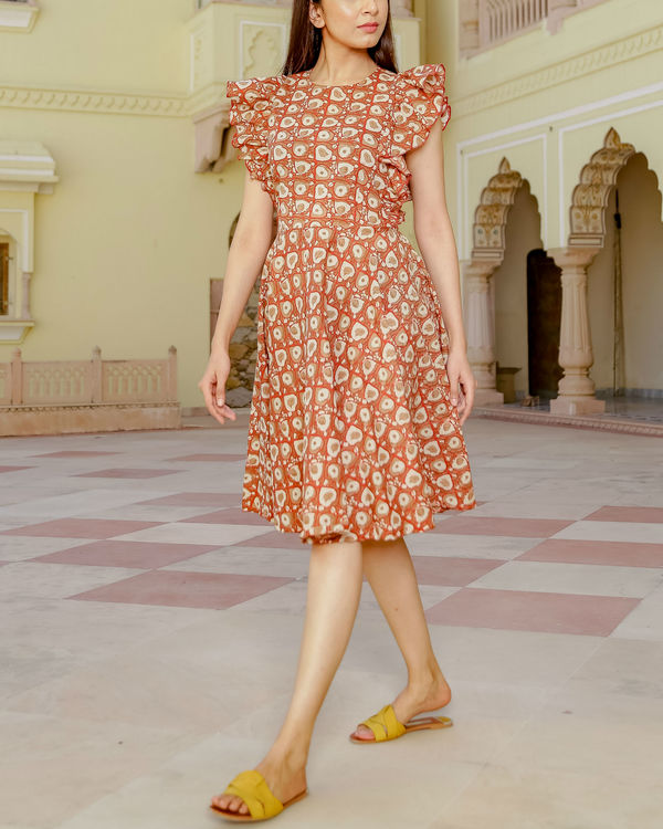 Frill short printed dress 2