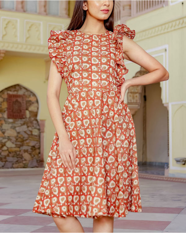 Frill short printed dress 1