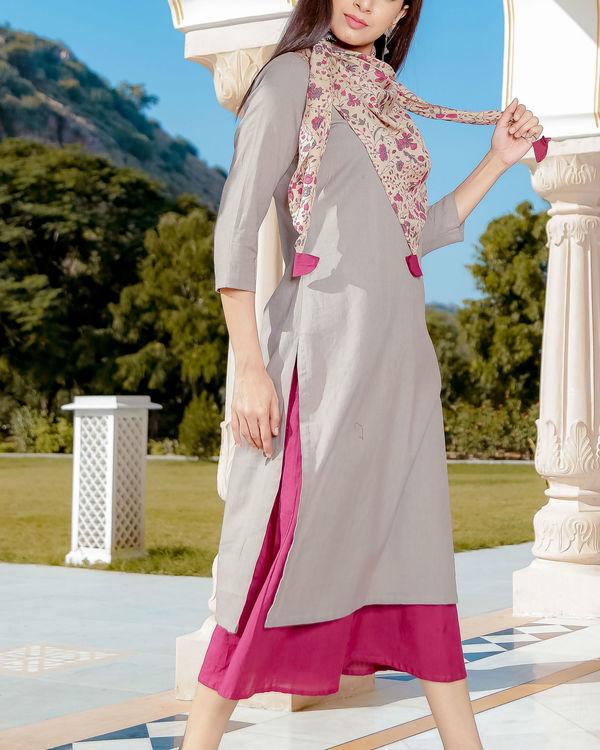Grey and pink kurta set 1