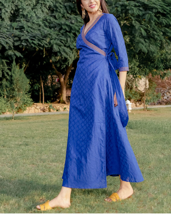 Blue printed angrakha dress 1
