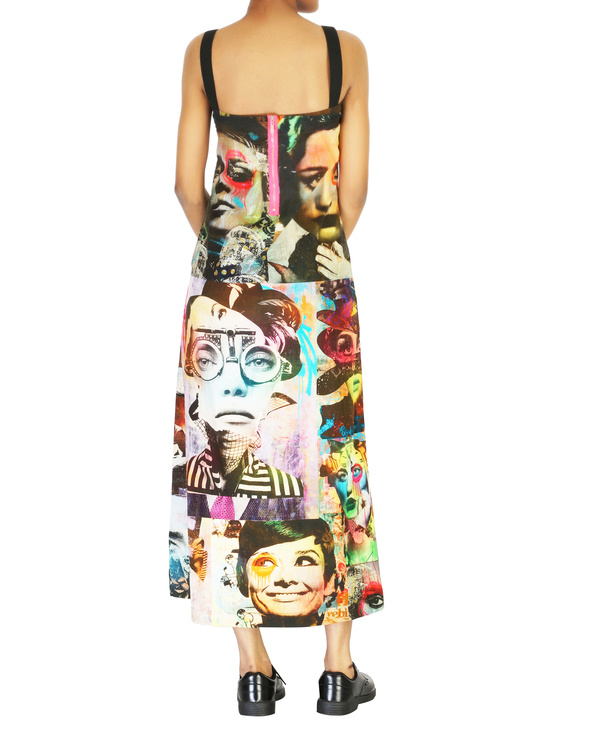 Collage print long dress 1