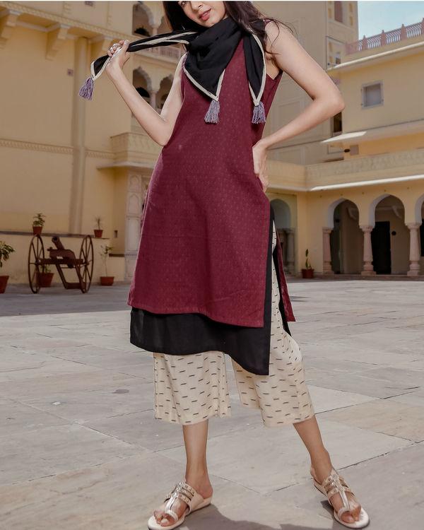 Layered kurta culottes set with scarf 1