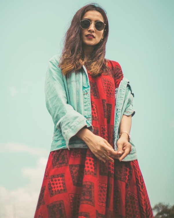Red Dual Print Dress 1
