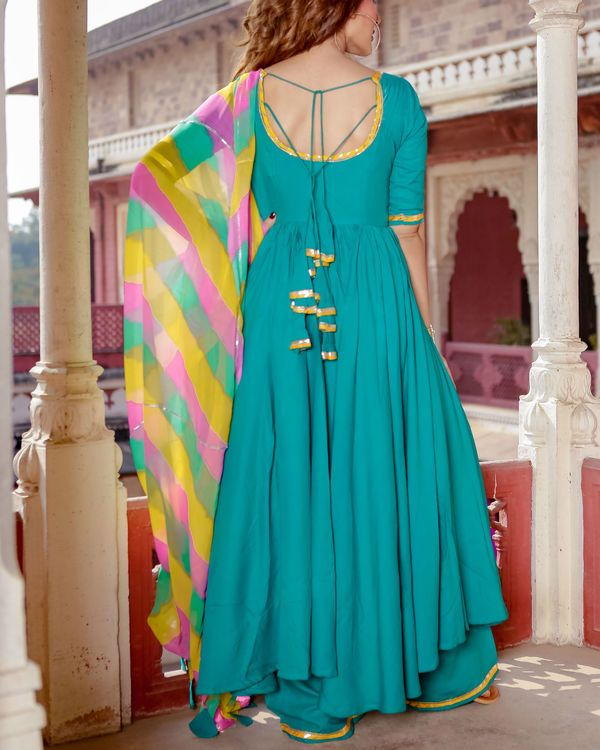 Turquoise suit set with leheriya dupatta 2