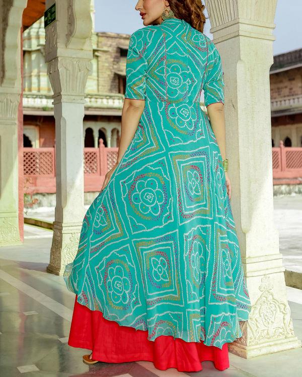 Turquoise bandhej high low palazzo set 1