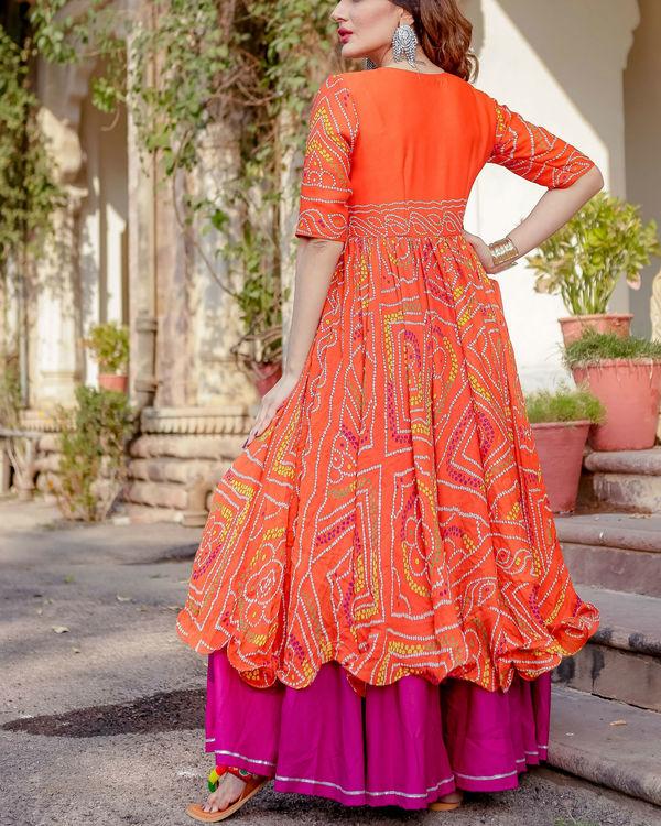 Orange bandhani flared dress 3