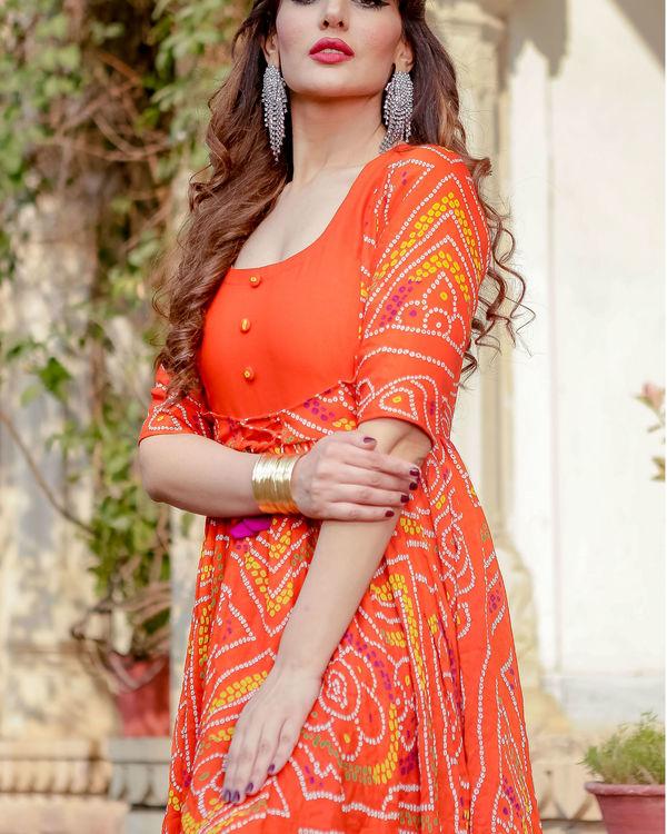 Orange bandhani flared dress 2