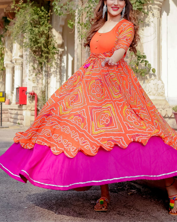 Orange bandhani flared dress 1