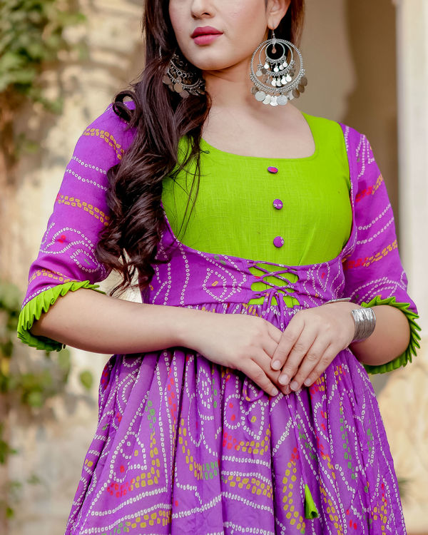 Purple and green flared dress 3