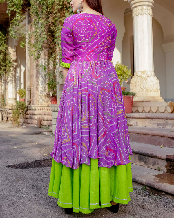 Purple and green flared dress 2