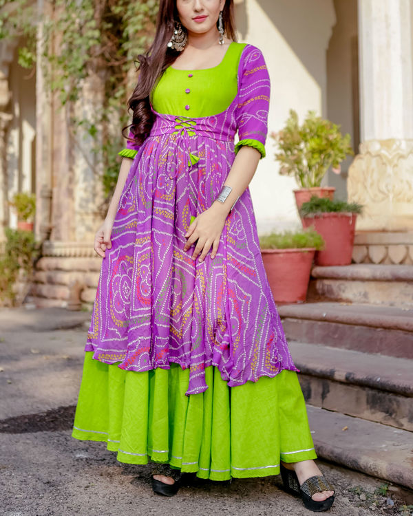 Purple and green flared dress 1