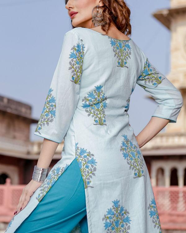 Blue handblock printed kurta set 1