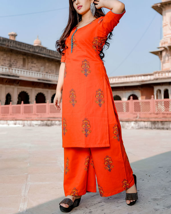 Orange hand print kurta set 2