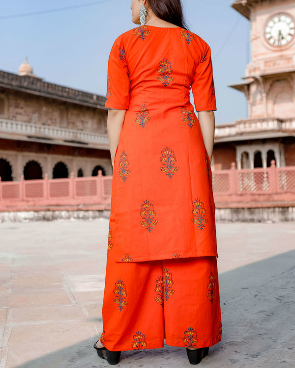 Orange hand print kurta set 1