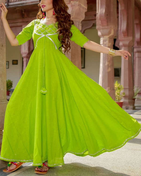 Lime green gota dress 2
