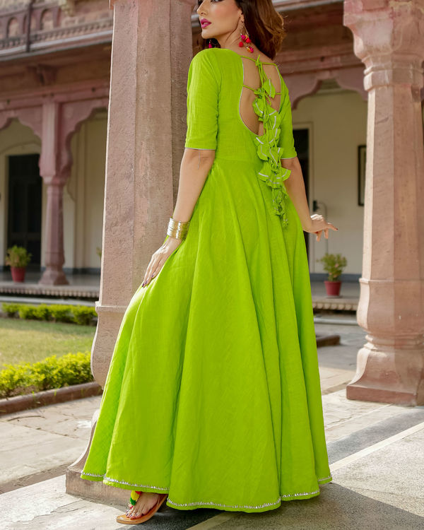 Lime green gota dress 1