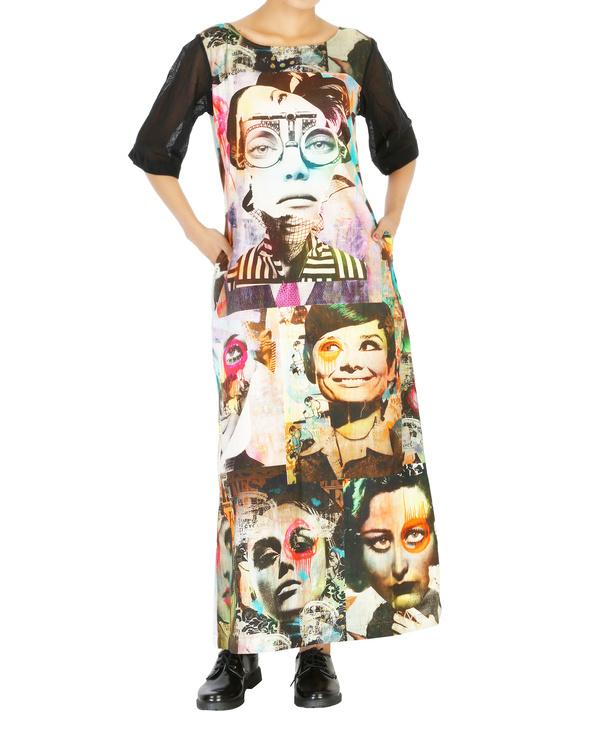 Collage print long dress 2