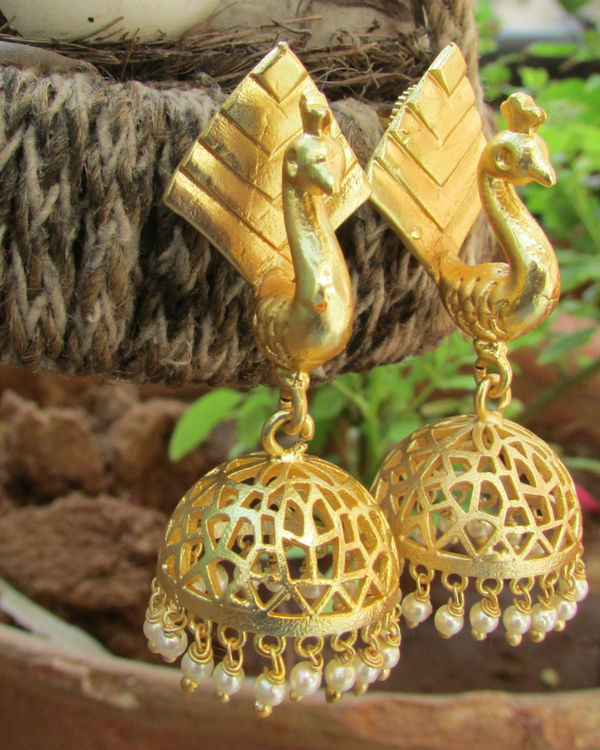 Golden peacock jhumkas 1