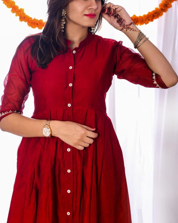 Red knife pleat dress 2