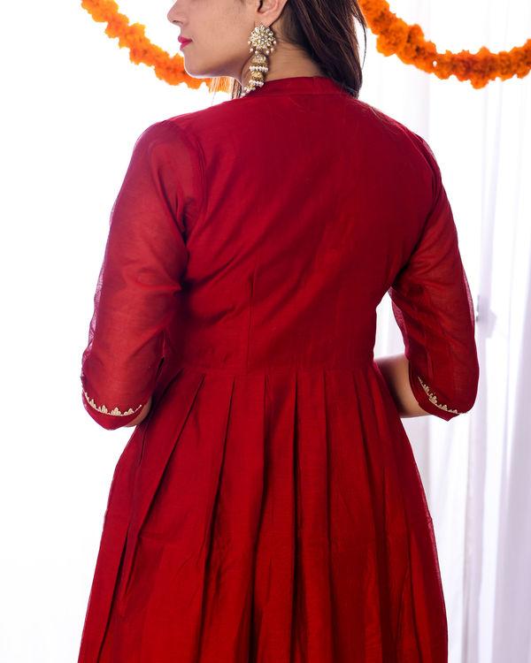 Red knife pleat dress 1