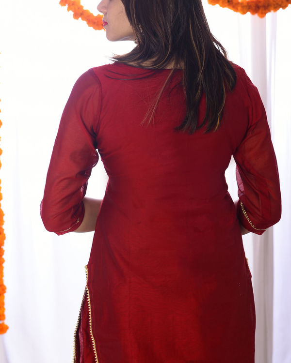 Red embroidered yoke set 1