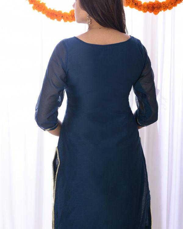 Teal blue embroidered yoke set 2