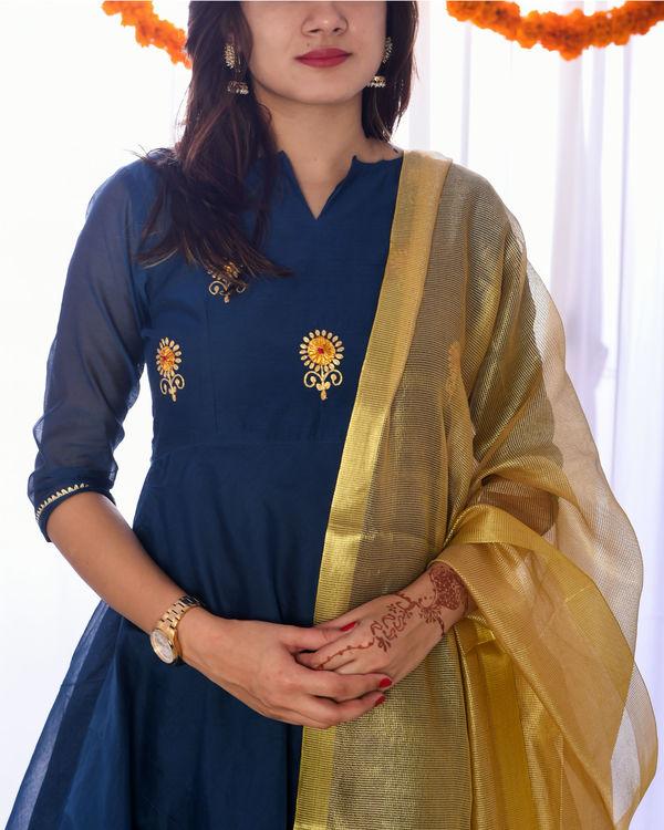 Teal golden embroidered set 1