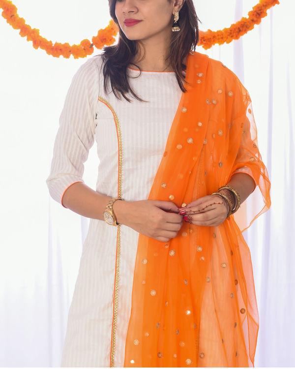 Ivory and orange princess kurta set 1