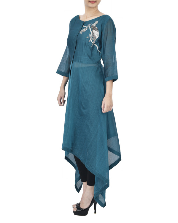 Blue tunic with silver zardozi embroidery 1