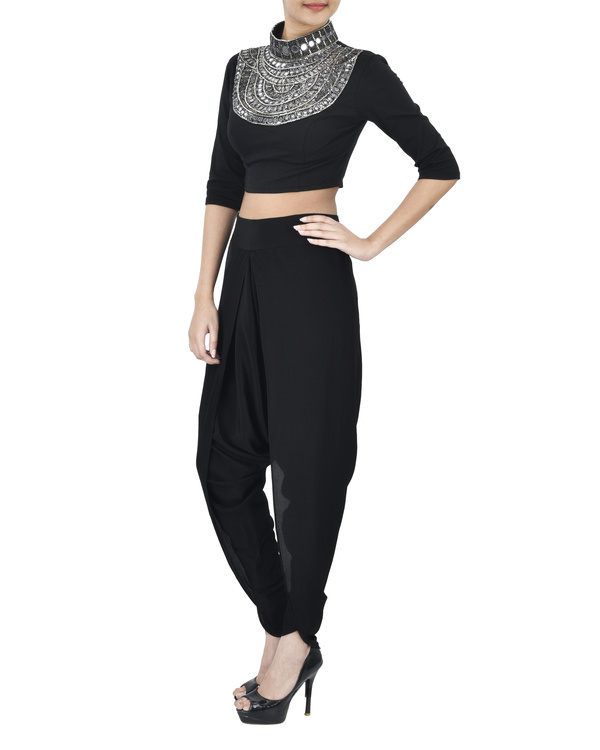 Black crop top with coin neck detailing 1