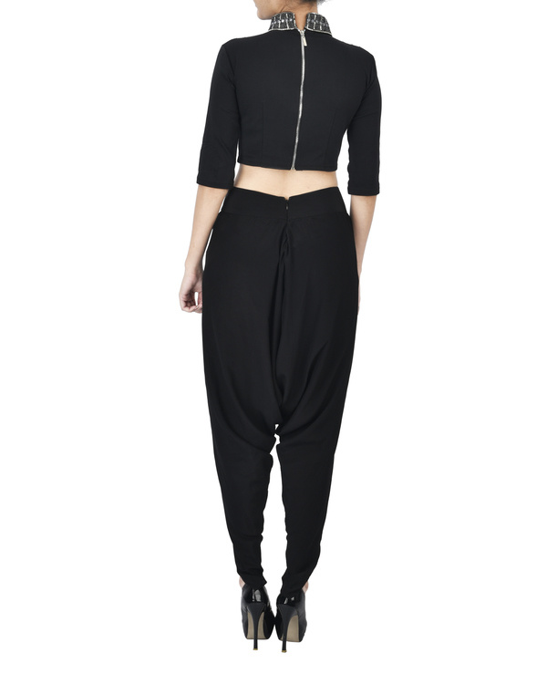Black crop top with coin neck detailing 2