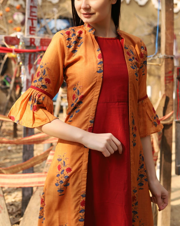 Rust orange and red jacket dress 1